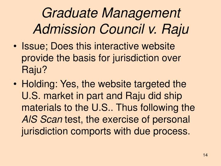 Graduate Management Admission Council v. Raju