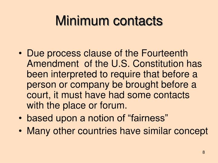 Minimum contacts