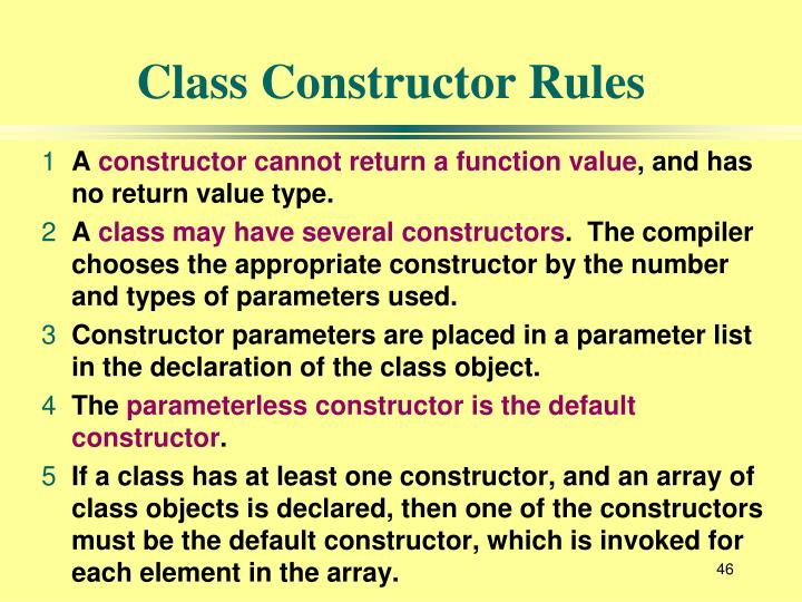 Class Constructor Rules