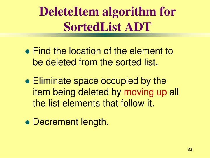 DeleteItem algorithm for