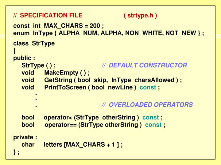 //  SPECIFICATION FILE( strtype.h )
