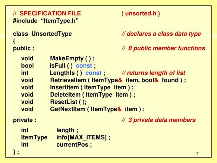 //  SPECIFICATION FILE( unsorted.h )