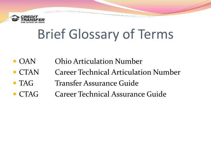 Brief Glossary of Terms