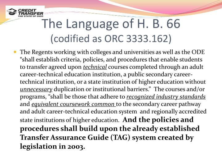 The Language of H. B. 66