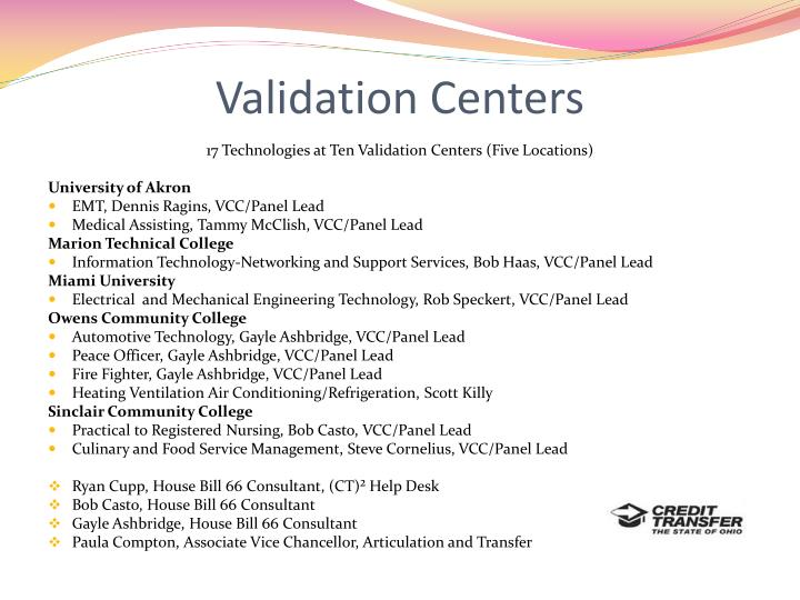 Validation Centers