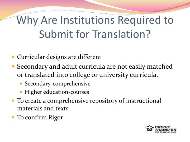 Why Are Institutions Required to Submit for Translation?