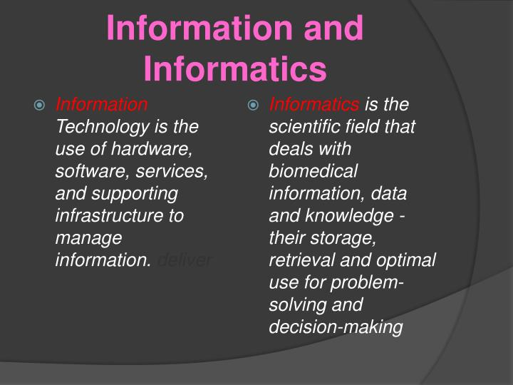 Information and informatics
