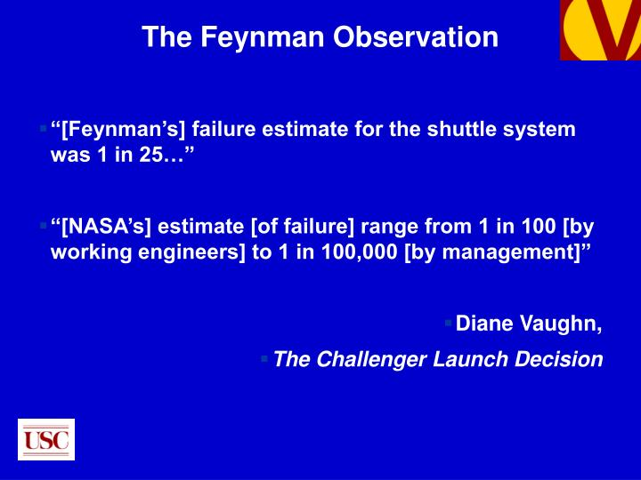 """[Feynman's] failure estimate for the shuttle system was 1 in 25…"""