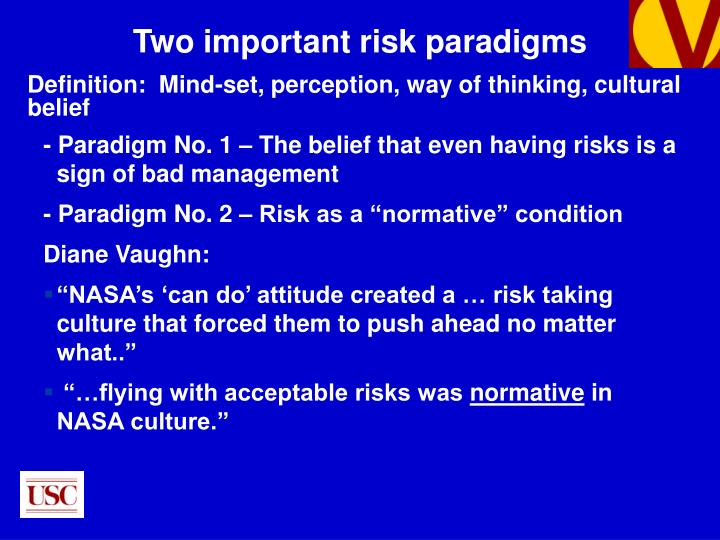 - Paradigm No. 1 – The belief that even having risks is a sign of bad management