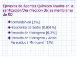 ejemplos de agentes qu micos usados en la sanitizaci n desinfecci n de las membranas de ro