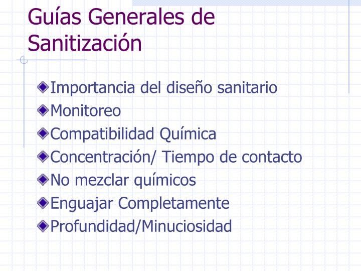Guías Generales de Sanitización