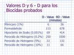 valores d y 6 d para los bioc das probados