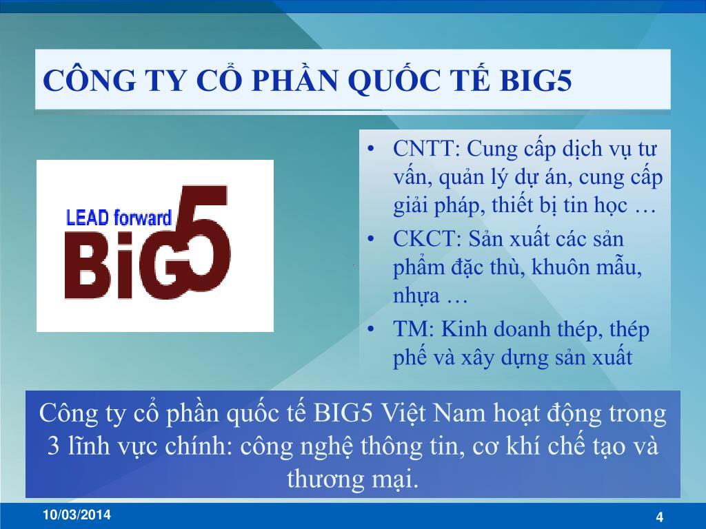 CÔNG TY CỔ PHẦN QUỐC TẾ BIG5