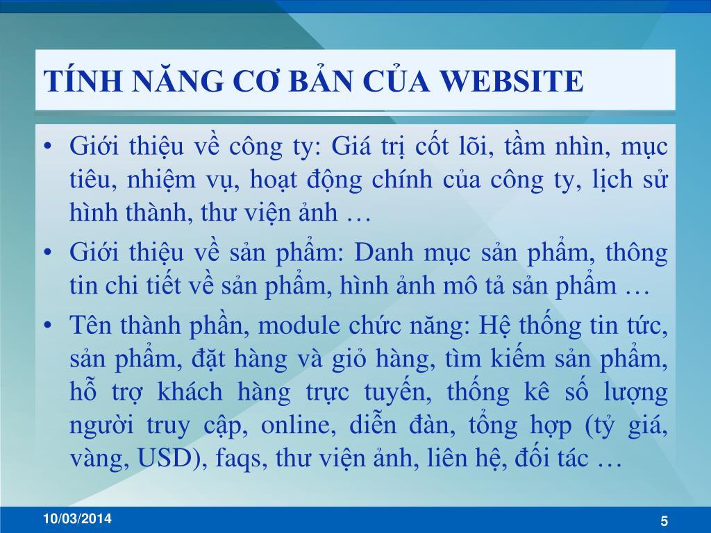 TÍNH NĂNG CƠ BẢN CỦA WEBSITE