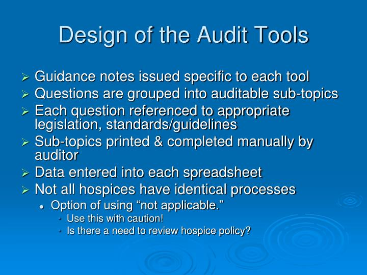 Design of the Audit Tools
