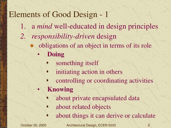 Elements of Good Design - 1