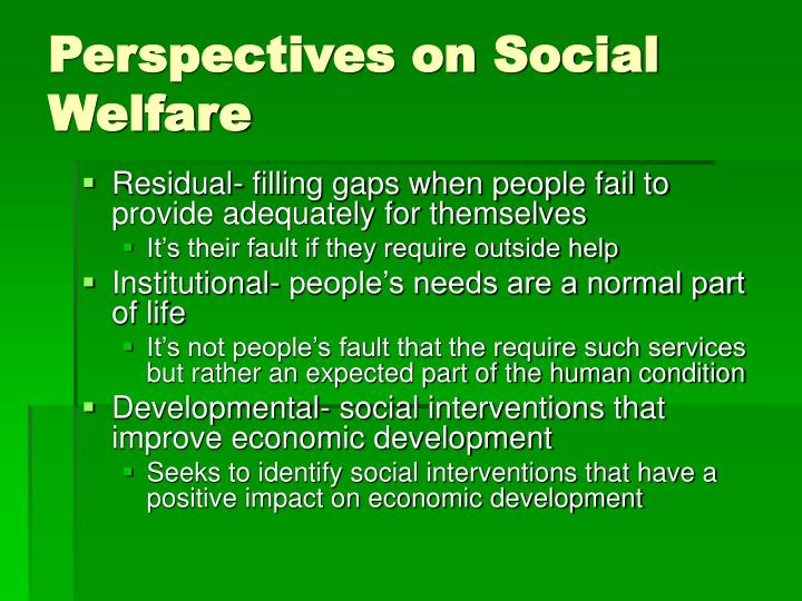 Perspectives on Social Welfare