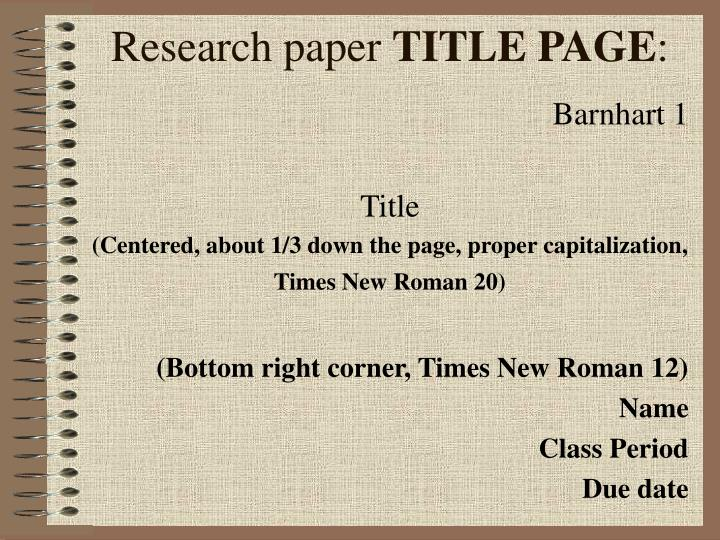 title page in a research paper