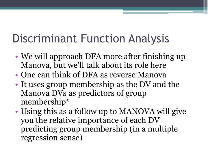Discriminant Function Analysis