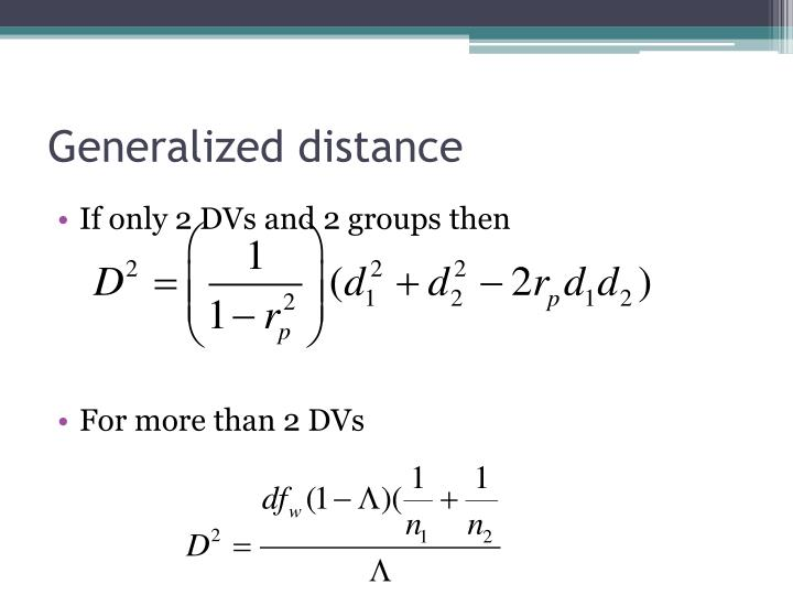 Generalized distance
