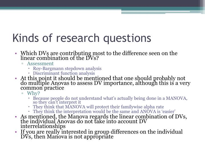 Kinds of research questions