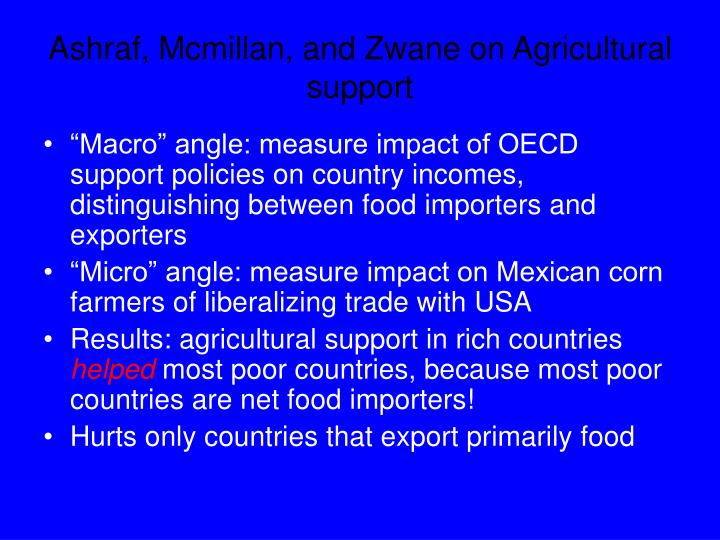 Ashraf, Mcmillan, and Zwane on Agricultural support