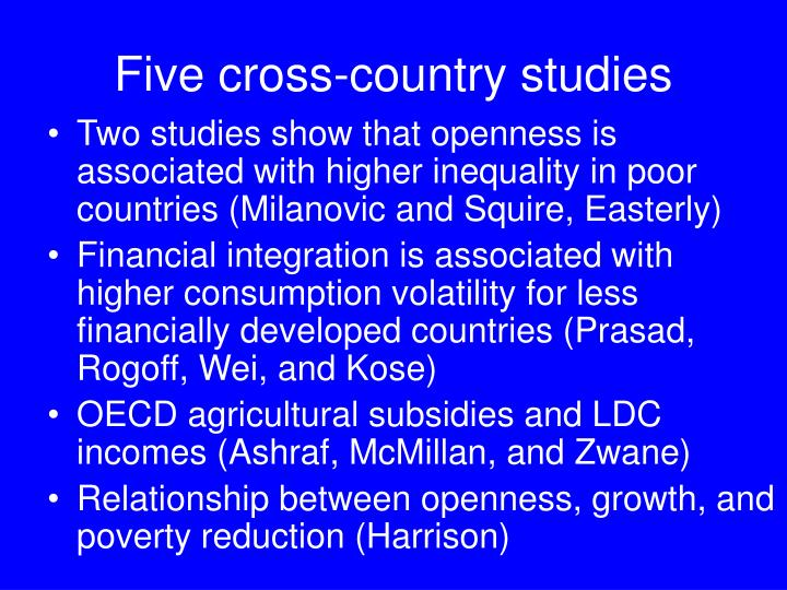 Five cross-country studies