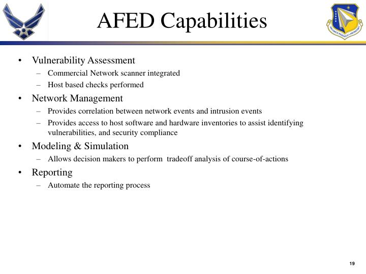AFED Capabilities