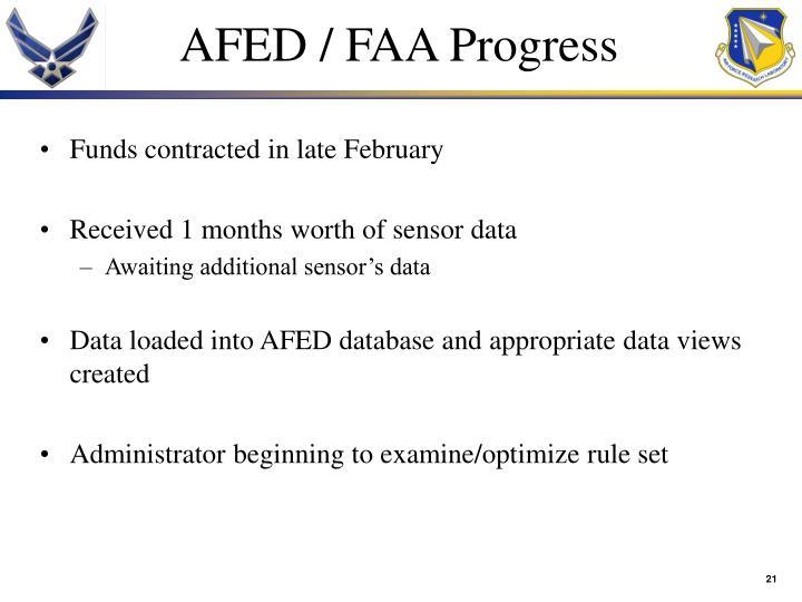 AFED / FAA Progress