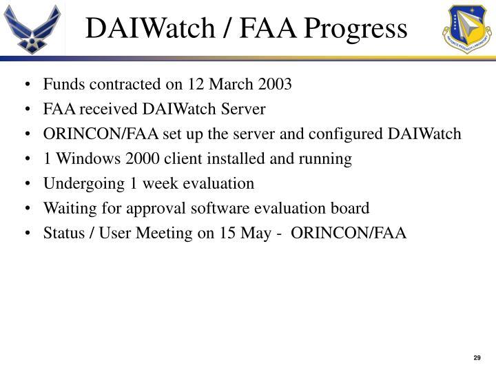 DAIWatch / FAA Progress