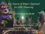 key aspects of project appraisal for sme financing cii fincon 02 09 06