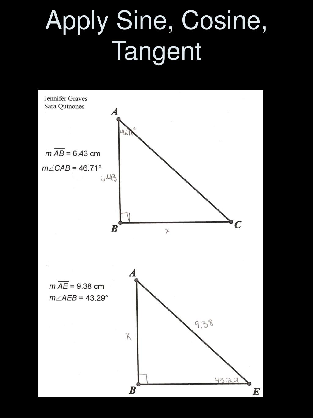 Apply Sine, Cosine, Tangent