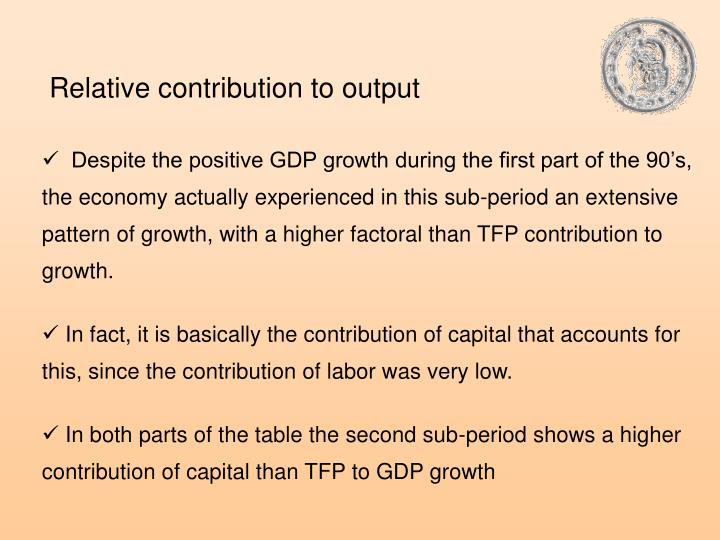 Relative contribution to output