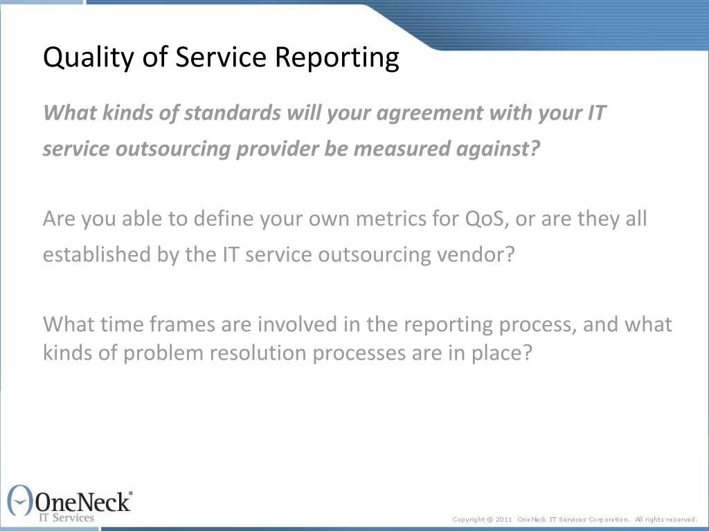 Quality of Service Reporting