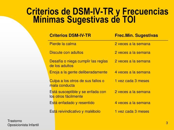 Criterios de DSM-IV-TR y Frecuencias