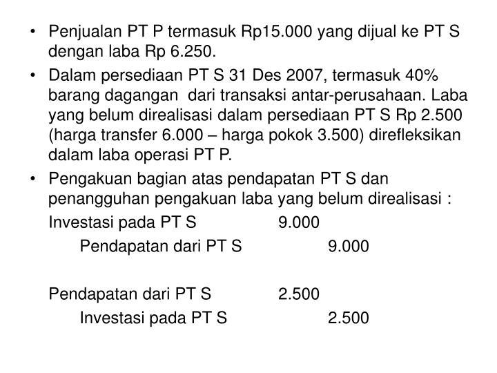 Penjualan PT P termasuk Rp15.000 yang dijual ke PT S dengan laba Rp 6.250.