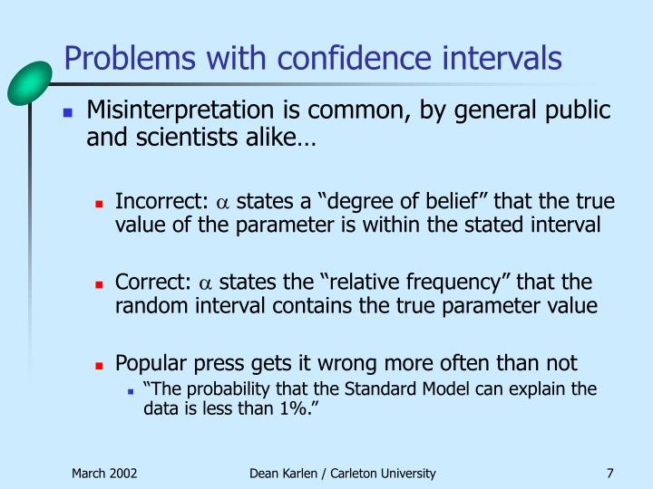 Problems with confidence intervals