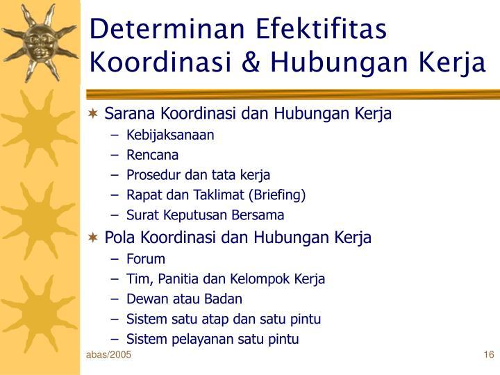 Determinan Efektifitas Koordinasi & Hubungan Kerja