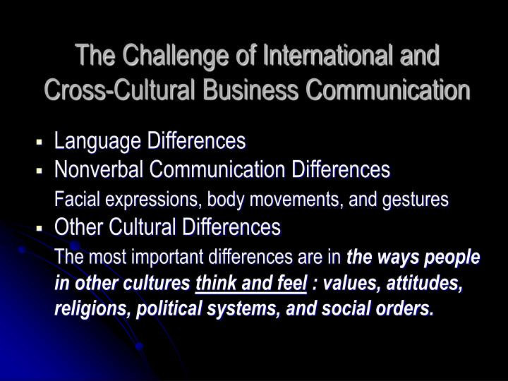 crosscultural business communication Cross-cultural communication can be a tricky business these basic tips can go a  long way in minimising misunderstandings and maximising your cross-cultural.