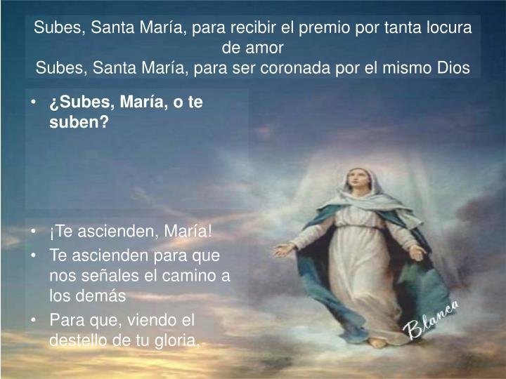 Subes, Santa María, para recibir el premio por tanta locura de amor
