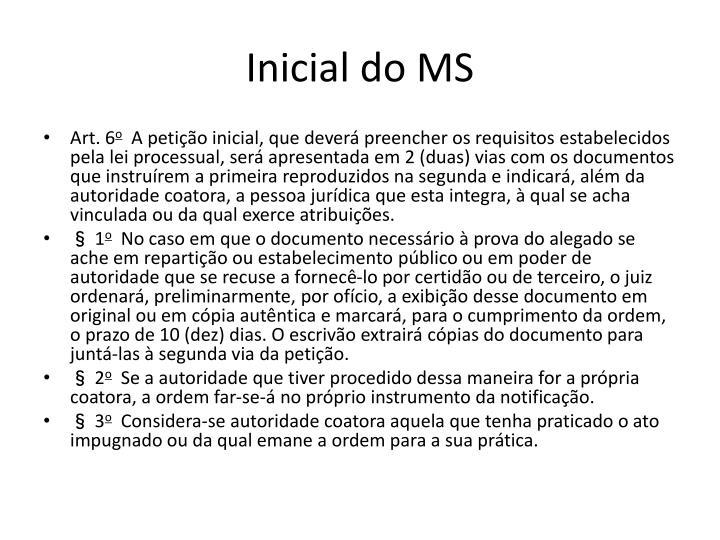 Inicial do MS