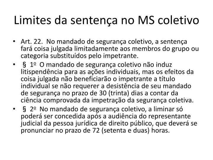 Limites da sentença no MS coletivo