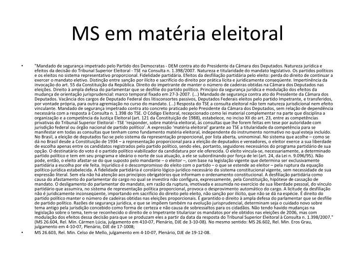 MS em matéria eleitoral