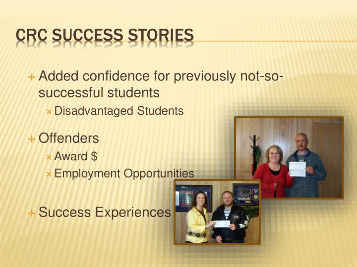 Added confidence for previously not-so-successful students