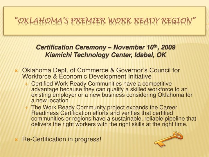 Certification Ceremony – November 10