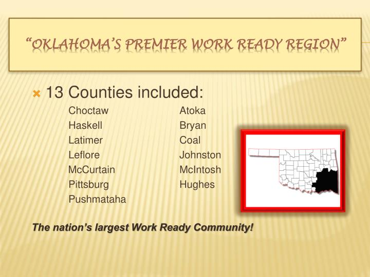 13 Counties included: