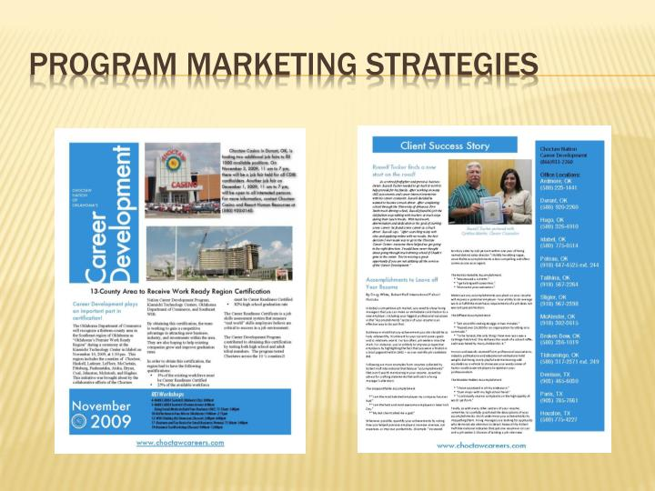 Program Marketing Strategies