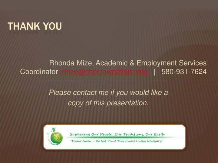 Rhonda Mize, Academic & Employment Services Coordinator
