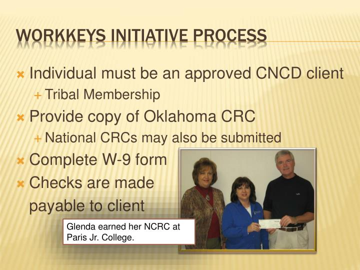 Individual must be an approved CNCD client