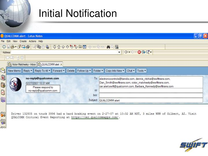 Initial Notification